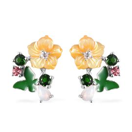 Jardin Collection - Yellow Mother of Pearl, Russian Diopside and Multi Gemstone Earrings (with Push