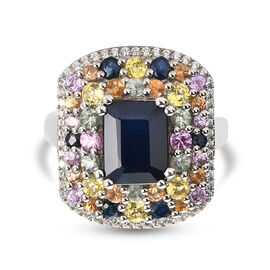 Blue Sapphire and Multi Gemstones Ring in Platinum Overlay Sterling Silver 5.32 Ct.