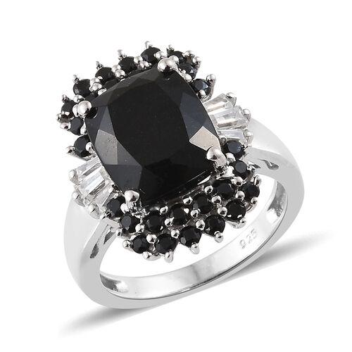 Black Tourmaline (Cush 4.19 Ct), Boi Ploi Black Spinel,Natural Cambodian Zircon Ring in Platinum Ove