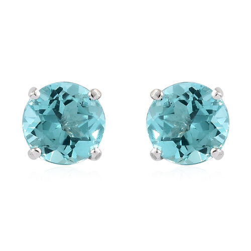 9K White Gold AA Paraiba Apatite (Rnd) Stud Earrings (with Push Back) 1.750 Ct.