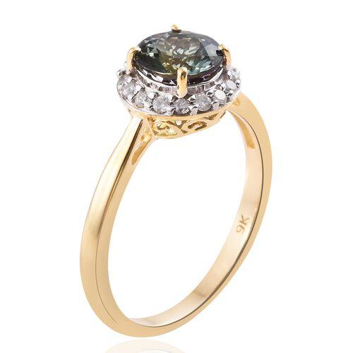 1.75 Ct AA Green Tanzanite and Diamond Halo Ring in 9K Gold