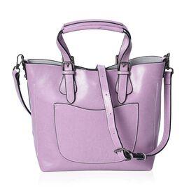 100% Genuine Leather Purple Colour Tote Bag (Size 32x25x12.5x24 Cm) with Detachable Shoulder Strap