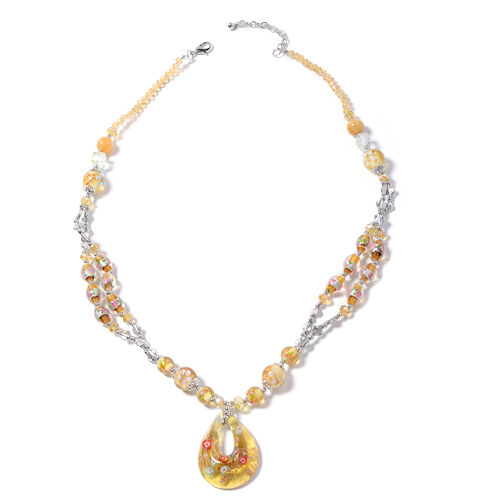 Murano Style Glass, Simulated Champagne Diamond, Yellow Quartzite and Simulated Mystic Glass Necklac