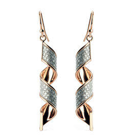 NY Close Out - Diamond Cut Designer Rose Gold Overlay Sterling Silver Hook Earrings