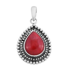 Royal Bali Collection - Red Sponge Coral Pendant in Sterling Silver, Silver wt. 3.85 Gms