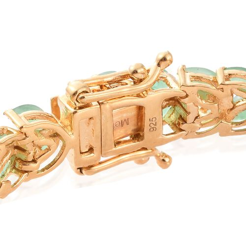 Limited Edition- Kagem Zambian Emerald (Mrq) Bracelet (Size 7.5) in 14K Gold Overlay Sterling Silver 13.000 Ct. Silver wt 15.93 Gms.