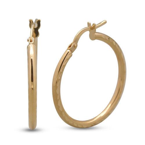 Italian Made - 9K Yellow Gold Diamond Cut Hoop Earrings