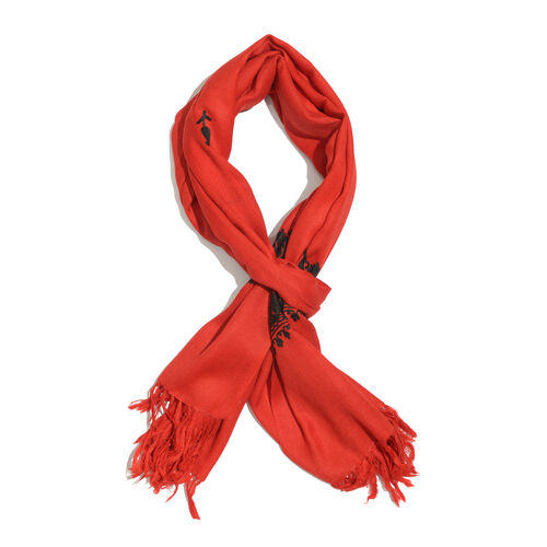 100% Merino Wool Red and Black Colour Embroidered Scarf with Fringes (Size 200x70 Cm)