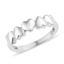 Platinum Overlay Sterling Silver Heart Ring, Silver wt 3.10 Gms.