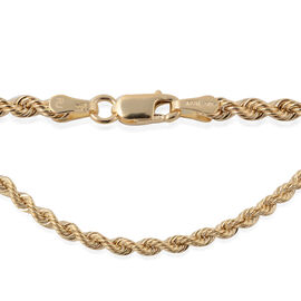 Made in UK- 9K Yellow Gold Rope Long Line Necklace (Size 30), Gold wt. 5.12 Gms.