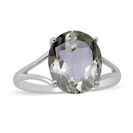 Green Amethyst Prasiolite Ring in Sterling Silver 4.30 Ct.