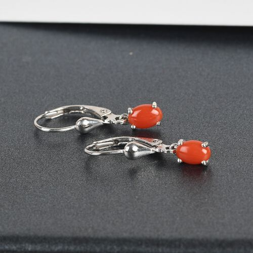 Coral Lever Back Earrings in Platinum Overlay Sterling Silver