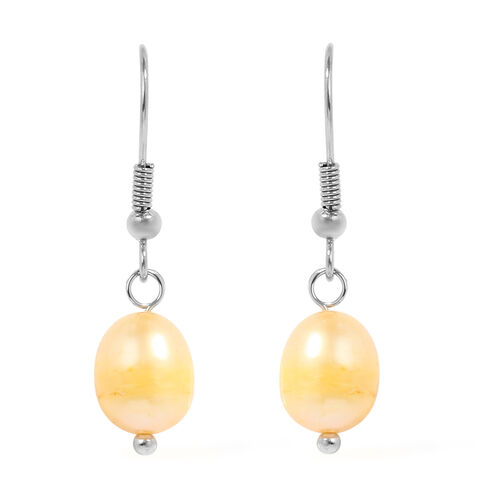 One Time Deal- 2 Piece Set Fresh Water Pearl Earrings and Necklace (Size 20 with 2 inch Extender) in Stainless Steel - Golden