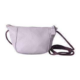 Genuine Leather Middle Size Crossbody Bag - Grey