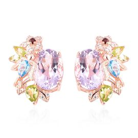 Jardin Collection - Rose De France Amethyst (Ovl 14x10 mm), and Multi Gemstone Earrings (with French