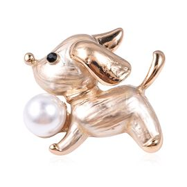 Simulated Pearl and Black Austrian Crystal Puppy Dog Brooch in Gold Tone