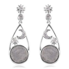 Meteorite and Natural Cambodian Zircon Crescent Moon & Star Drop Earrings (with Push Back) in Platin