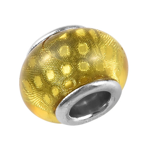Charmes De Memoire Yellow Murano Style Glass Charm in Platinum Overlay Sterling Silver