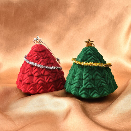 Set of 2 - Star Christmas Tree Velvet Ring Box in Red and Green Colour (Size 6x4cm)