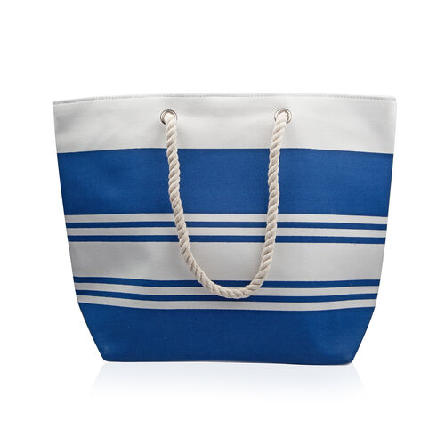 Close Out Deal White And Blue Stripe Pattern Large Beach Bag (Size 49x38x15 Cm)