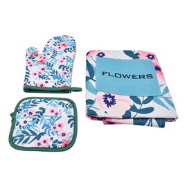 3 Piece Set - Digital Printed 1 kitchen Glove, 1 Pot Holder, and 1 Apron with Pocket in Green (Size