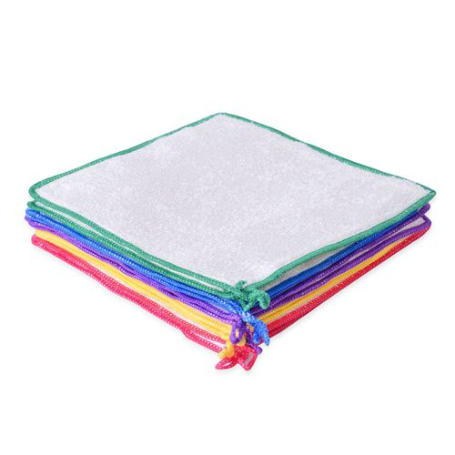 Set of 10 - Yellow, Green, Red, Blue and Purple Colour Cleaning Towels (Size 25x25 Cm) Viscose Bamboo/Wood Fibre