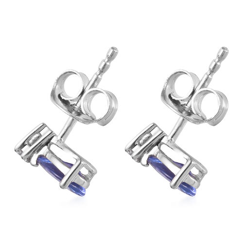 9K White Gold AA Tanzanite (Pear 6x4mm), Diamond Earrings (with Push Back) 0.77 Ct.
