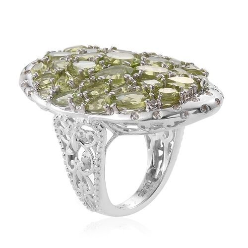 GP Hebei Peridot (Ovl), White Topaz and Kanchanaburi Blue Sapphire Cluster Ring in Platinum Overlay Sterling Silver 9.500 Ct.