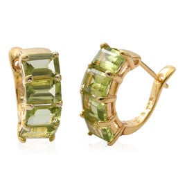 Extremely Rare Cut-Hebei Peridot (Oct) Hoop Earrings (with Clasp Lock) in Yellow Gold Overlay Sterling Silver 4.500 Ct.
