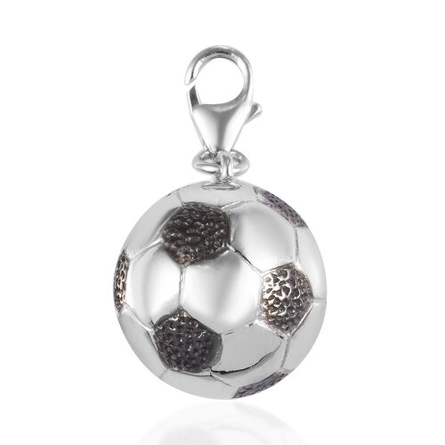 WEBEX- Platinum and Black Overlay Sterling Silver Football Charm, Silver wt 4.59 Gms