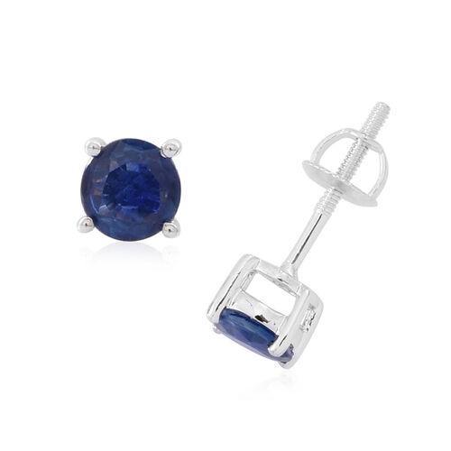 ILIANA 18K W Gold Kanchanaburi Blue Sapphire (Rnd) Stud Earrings (with Screw Back) 1.250 Ct.