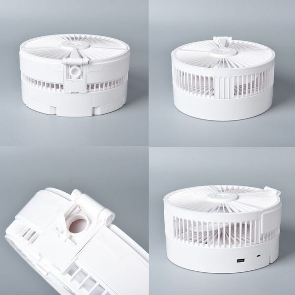 Portable & Adjustable Fan with Mist, Oscillation Function, Rechargeable Battery and Four Wind Speed Settings (Folded Size 20.6x 11cm; Adjustable up to 85cm) - White