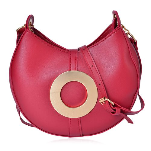 Red Colour Crescent Moon Shaped Design Crossbody Bag with Adjustable and Removable Shoulder Strap (Size 24X18X5 Cm)