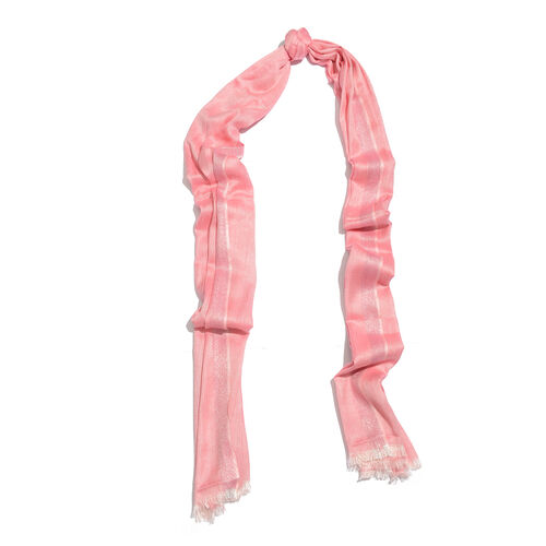 Pink Colour Scarf with Lurex Border (Size 200x70 Cm)