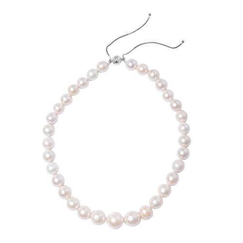 White Edison Pearl Beaded Adjustable Necklace in Rhodium Plated Silver