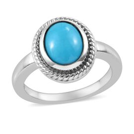 Arizona Sleeping Beauty Turquoise (Ovl) Ring in Platinum Overlay Sterling Silver 1.50 Ct.