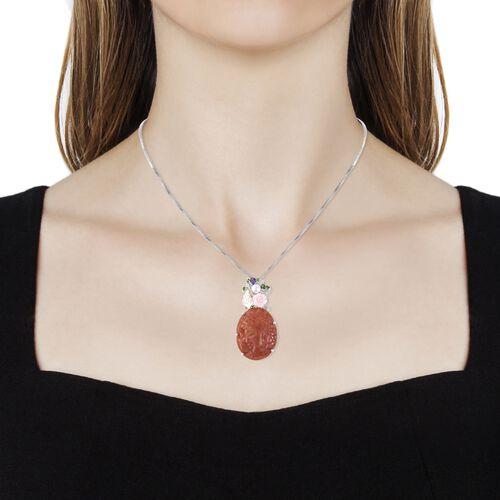 Cameo Red Jade and Multi Gemstone Pendant With Chain (Size 18) in Rhodium Overlay Sterling Silver 38.130 Ct, Silver wt 7.36 Gms.