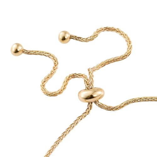 J Francis - 9K Y Gold (Rnd) Adjustable Bracelet (Size 6.5 to 9) Made with SWAROVSKI ZIRCONIA, Gold wt 4.03 Gms.
