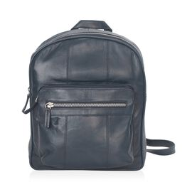 100% Genuine Leather Navy Blue Colour Backpack with Multi Pockets (Size 23x28x7 Cm)