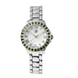 GENOA Japanese Movement Russian Diopside Studded White Dial Water Resistant Watch in Silver Tone