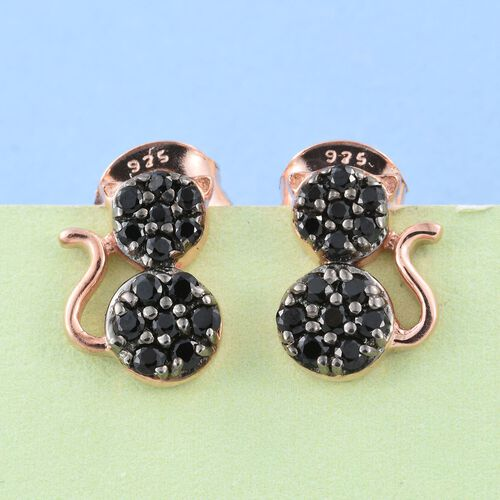 0.50 Carat Black Spinel Silver Cat Stud Earrings in Rose Gold Overlay