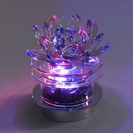 Decorative LED Light Crystal Lotus with Shungite and Rotating Base (Size 9.5x10.5 Cm) - Silver and M