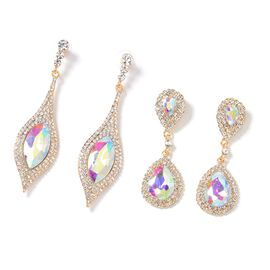 Set of 2 - Magic Colour Simulated Diamond (Mrq 27x13 mm), White Austrian Crystal Dangle Earrings (with Push Back) in Gold Tone