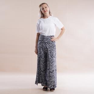 JOVIE Viscose Elastic Band Print Trousers Paisley and Rhombic Dot Pattern Grey Print