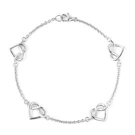 LucyQ Entwined Heart Station Bracelet (Size 7.5) in Rhodium Overlay Sterling Silver, Silver wt 5.26