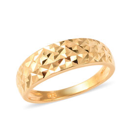 Diamond Cut Ring in Gold Plated Sterling Silver