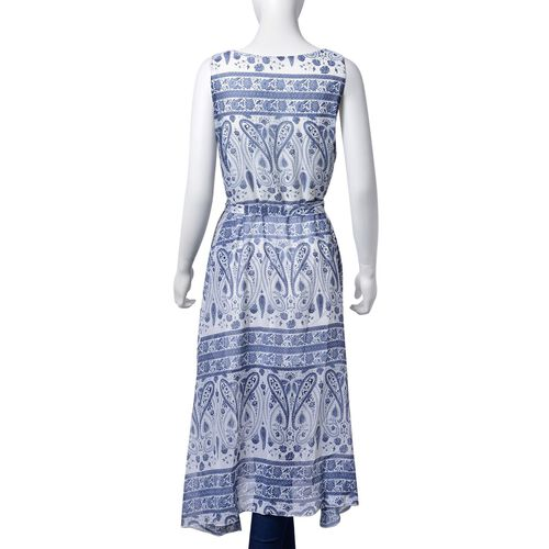 Blue and White Colour Bandana Pattern Dress (Size 108X95 Cm)