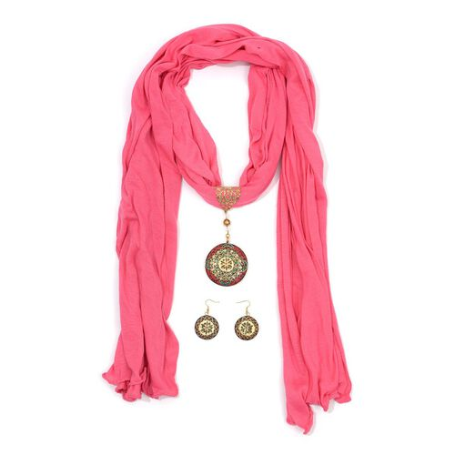 Hot Pink Viscose Scarf (Size 180x50 Cm) with Brass Pendant and Hook Earrings