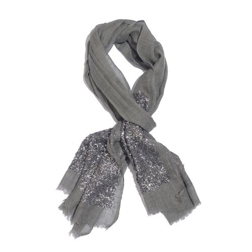Close Out Deal Designer Inspired - Merino Wool and Mulberry Silk Shawl With Hand Done Sequin embelli