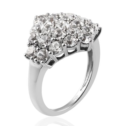 J Francis - Crystal from Swarovski White Crystal Cluster Ring in Platinum Plated